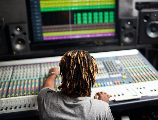 Working in recording studio